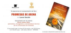 Invitación presentación Promesas de arena en librería Luque